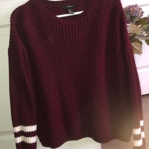 Comfiest PLUM sweater with striped sleeves🍇✨